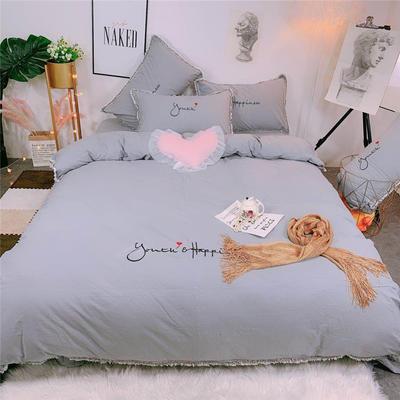 2019新款全棉水洗棉纯棉刺绣四件套 1.8m(6英尺)床单款 石灰色