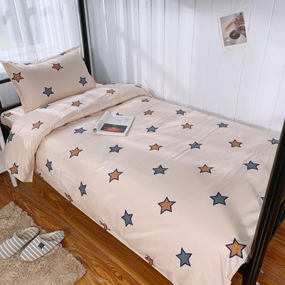 2019新款学生纯棉全棉13376三件套 1.2m(4英尺)床单款三件套 彩星之恋-咖