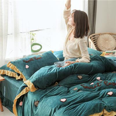 2019新款宝宝绒甜心coco四件套 1.5m(5英尺)床单款 甜心coco 深墨绿