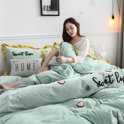 2019新款宝宝绒甜心coco四件套 1.5m(5英尺)床单款 甜心coco-豆绿