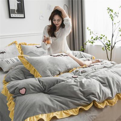 2019新款宝宝绒甜心coco四件套 1.5m(5英尺)床单款 甜心coco-灰色