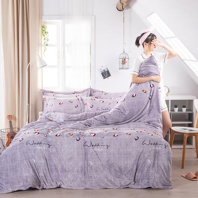 2019新款印花牛奶绒四件套 1.2m床单款三件套 不忘初心