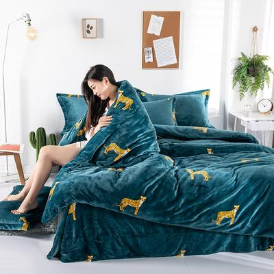 2019新款印花牛奶绒四件套 1.2m床单款三件套 金钱豹-绿