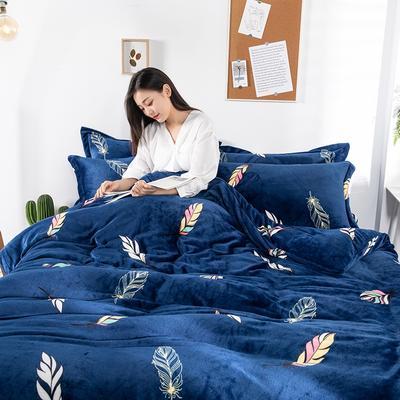 2019新款印花牛奶绒四件套 1.2m床单款三件套 宛若初见-蓝