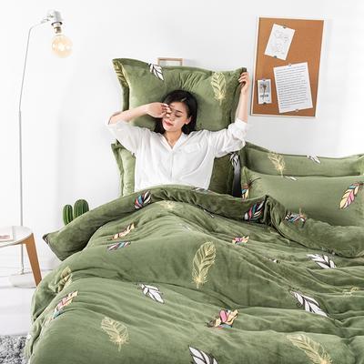2019新款印花牛奶绒四件套 1.2m床单款三件套 宛若初见-绿