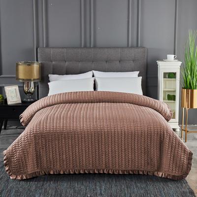 2019新款加厚荷叶边水晶绒单床盖 200cmx220cm 咖啡色