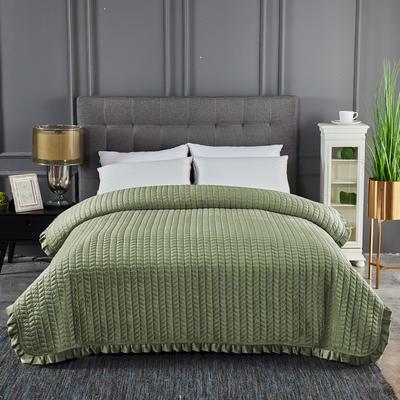 2019新款加厚荷叶边水晶绒单床盖 200cmx220cm 清新绿