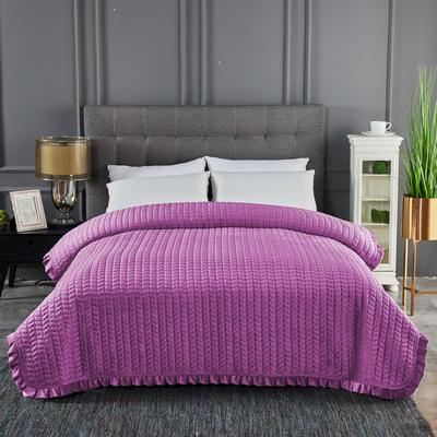 2019新款加厚荷叶边水晶绒单床盖 200cmx220cm 水晶紫