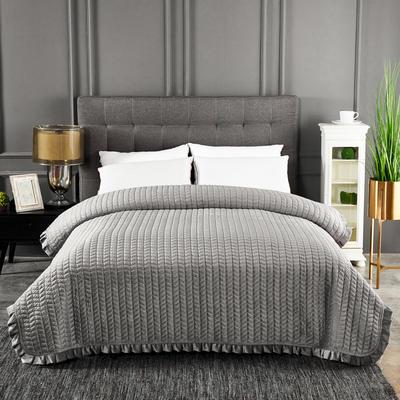 2019新款加厚荷叶边水晶绒单床盖 200cmx220cm 银灰色