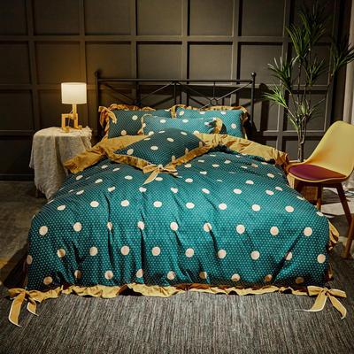 2019新款网红韩版蝴蝶结四件套 1.8m(6英尺)床单款 时尚圆点蓝