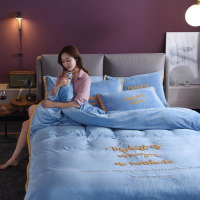 2019新款宽边韩版水晶绒四件套 1.5m床单款 优妮卡-兰色