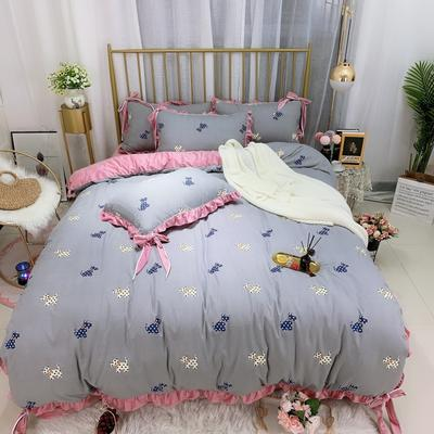 2019新款法莱绒水晶绒宝宝绒棉加绒四件套 1.8m(6英尺)床单款 绒爱尚狗
