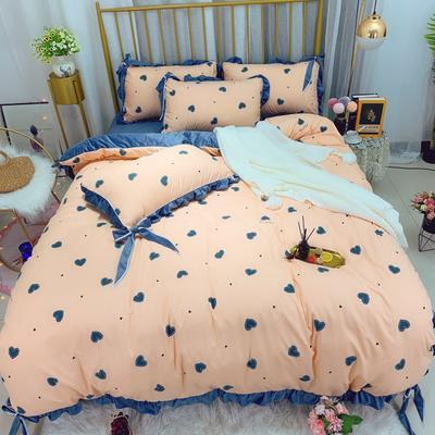 2019新款法莱绒水晶绒宝宝绒棉加绒四件套 1.8m(6英尺)床单款 绒爱随心动