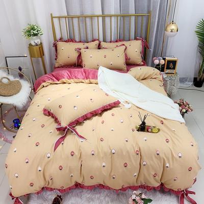 2019新款法莱绒水晶绒宝宝绒棉加绒四件套 1.8m(6英尺)床单款 绒草莓园