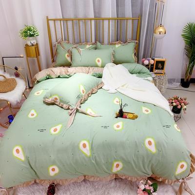 2019新款法莱绒水晶绒宝宝绒棉加绒四件套 1.8m(6英尺)床单款 绒牛油果