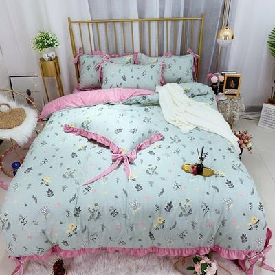 2019新款法莱绒水晶绒宝宝绒棉加绒四件套 1.8m(6英尺)床单款 绒森林物语
