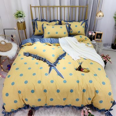 2019新款法莱绒水晶绒宝宝绒棉加绒四件套 1.8m(6英尺)床单款 绒时尚圆点黄