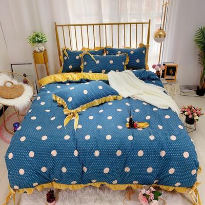 2019新款法莱绒水晶绒宝宝绒棉加绒四件套 1.8m(6英尺)床单款 绒时尚圆点蓝