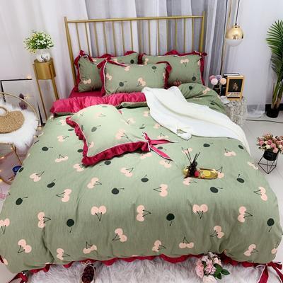 2019新款法莱绒水晶绒宝宝绒棉加绒四件套 1.8m(6英尺)床单款 绒水果情