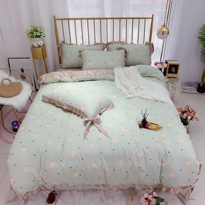 2019新款法莱绒水晶绒宝宝绒棉加绒四件套 1.8m(6英尺)床单款 绒水蜜桃
