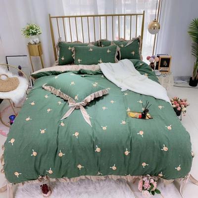 2019新款法莱绒水晶绒宝宝绒棉加绒四件套 1.8m(6英尺)床单款 绒小鹿