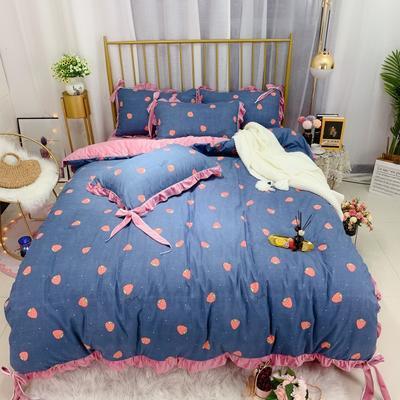 2019新款法莱绒水晶绒宝宝绒棉加绒四件套 1.8m(6英尺)床单款 绒最爱草莓蓝
