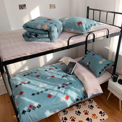2019新款学生宿舍床品全棉三件套 0.9m-1.2m-1.35m床单三件套 多彩方块