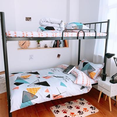 2019新款学生宿舍床品全棉三件套 0.9m-1.2m-1.35m床单三件套 三角卡莱