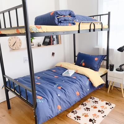 2019新款学生宿舍床品全棉三件套 0.9m-1.2m-1.35m床单三件套 甜橘蓝