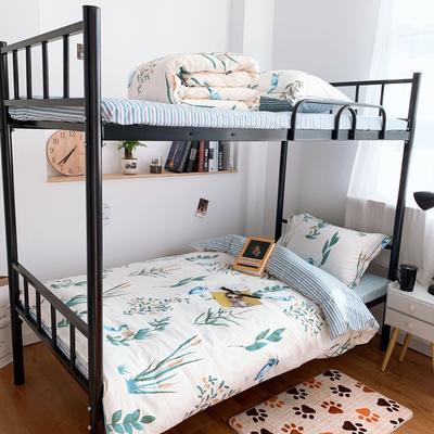 2019新款学生宿舍床品全棉三件套 0.9m-1.2m-1.35m床单三件套 仙鹤