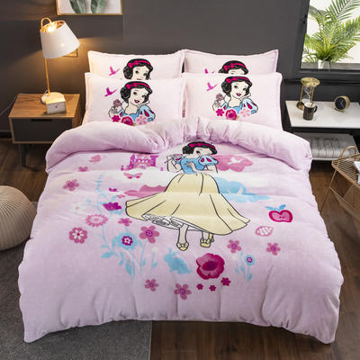 201新款卡通大版花法莱绒四件套 1.2床   三件套 小公主