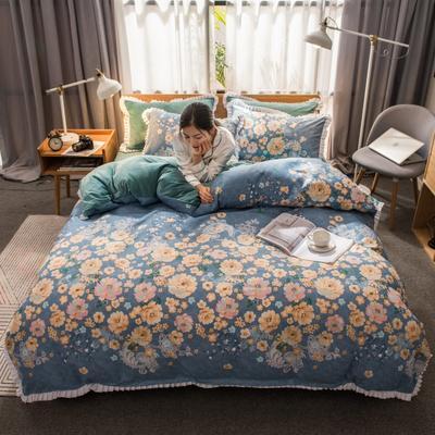 2019新款韩版棉加绒四件套 1.5m-1.8m床单款 繁花似锦
