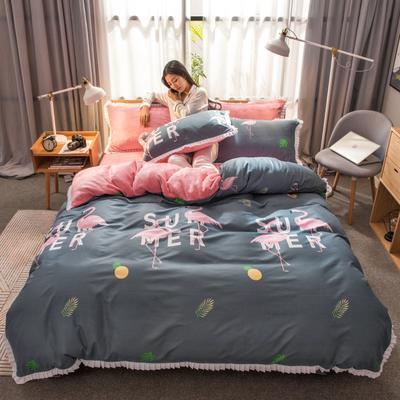 2019新款韩版棉加绒四件套 1.5m-1.8m床单款 热带雨林