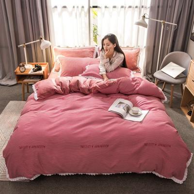 2019新款韩版棉加绒四件套 1.5m-1.8m床单款 约定-红