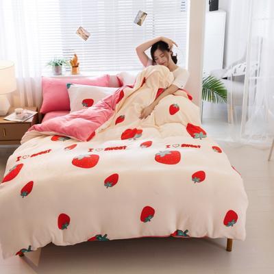 2019新款法莱绒四件套 1.5m-1.8m床单款 甜心草莓