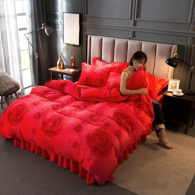 2020新款牛奶绒四件套 1.8m床单款四件套 红玫瑰