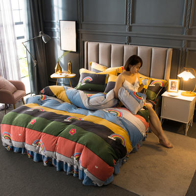 2020新款牛奶绒四件套 1.5m床单款四件套 六色彩虹