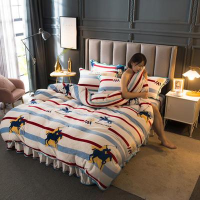 2020新款牛奶绒四件套 1.8m床单款四件套 天马行空