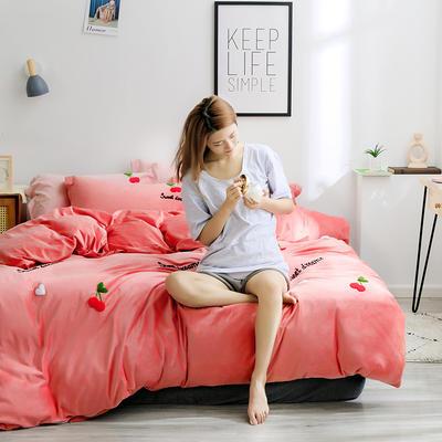2019新款绣花宝宝绒四件套 1.8m床单款 红樱桃
