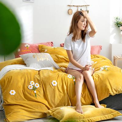 2019新款绣花宝宝绒四件套 1.8m床单款 黄小花
