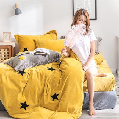 2019新款绣花宝宝绒四件套 1.8m床单款 黄星星