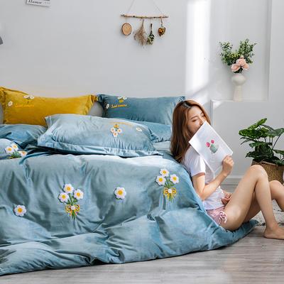 2019新款绣花宝宝绒四件套 1.8m床单款 蓝小花
