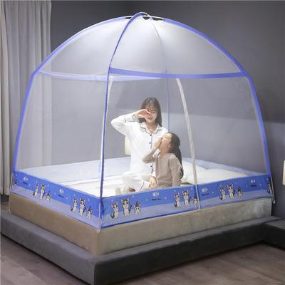 2020新款防蚊魔术蚊帐 150*200cm 可爱猫-蓝