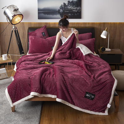 2019新款羊羔绒双层毯 100*140cm 浆果红