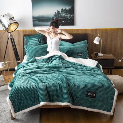 2019新款羊羔绒双层毯 100*140cm 墨绿色
