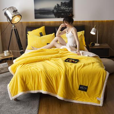 2019新款羊羔绒双层毯 100*140cm 柠檬黄