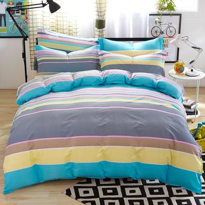 2019新款全棉12868四件套 2.2m(7英尺)床单款 快乐空间蓝