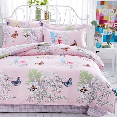 2019新款全棉12868四件套 2.2m(7英尺)床单款 甜蜜花丛粉