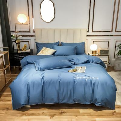 2020新款50S长绒棉纯色绣花四件套 1.5m床单款 海洋蓝