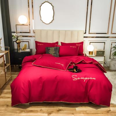 2020新款50S长绒棉纯色绣花四件套 1.5m床单款 贵族红